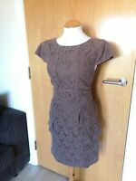 Ladies MARKS AND SPENCER Dress Size 14 Mocha Lace Fitted Smart Party Day Wedding