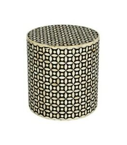 Bone Inlay Round drum Side Table Black Geometric (MADE TO ORDER)