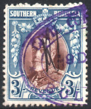 Southern Rhodesia Revenue 1931 3s blue & brown, Barefoot 9, used, no perfin