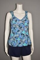 FIT 4 U NEW $94 Wide Strap Sweetheart Tankini w/ Tap Short in Blue Size 14
