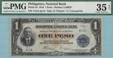 1918 Philippine National Bank 1 Peso ~ Conant ~ P44 ~ Serial# A12A ~ PMG VF35