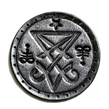 sigil of lucifer silver antique circle GENUINE LEATHER  PATCH black metal
