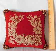 """Antique VICTORIAN 10"""" Sewing Pin Cushion ~ Small Pillow BEADED ROSES Needlepoint"""