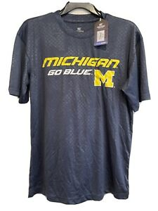 New Michigan Wolverines GO Blue 100% Polyester Mens T shirt
