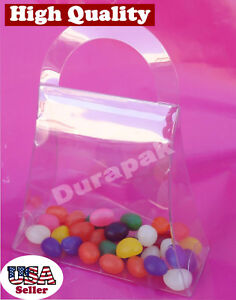 "50PCS 4-1/2x1-3/4x5""Clear Plastic APET Food Safe Handbag Shaped Favor Box Medium"