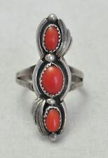 VTG Ella Lynch Navajo Sterling Silver & Coral Ring Size 10.5 Native American