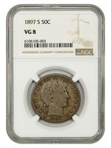 1897-S 50c NGC VG-08 - Tough Date - Barber Half Dollar - Tough Date