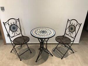 Bistroset Mare mit Mosaik ;Tisch + 2 Stück Stühle