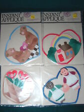 Lot of 4 NEW Sew /Iron On LARGE QUILTED Patchwork INSTANT APPLIQUES Bears Hearts
