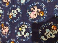 VIACOM Blues Clue Blue's Dog cartoon Floral Flowers flannel fabric BTY HTF OOP