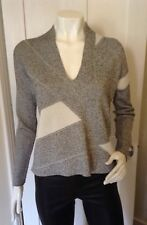 Helmut Lang Black & White Knitted Asymetric Graphic V-neck Sweater