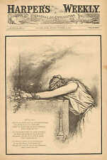 Th. Nast, Political Cartoon,  Miss Columbia, Mourning, After All, 1881 Print