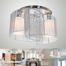 Chrome Chandelier Lamp Light Ceiling Flush Mount Fixture Home Living Room Decor