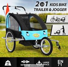 Kidbot 2IN1 Kids Bike Trailer Bicycle Pram Stroller Children Jogger BLUE+BLACK