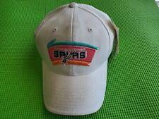VINTAGE San Antonio Spurs Strap Back Hat Cap Beige Old School Logo Basketball
