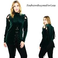 PLUS Gothic Green Velvet Renaissance Medieval Pirate Lace Up Shirt Top 1X 2X 3X