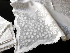 "Vtg Madeira Hand Embroidery 52"" Tablecloth 12 Napkin Wedding Cake Dessert Table"