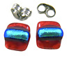 """DICHROIC Post EARRINGS 1/4"""" 8mm Red Square w/ Teal Green Stripe Tiny GLASS STUDS"""