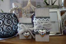 Teelichthalter mit silbernen Herzen aus Holz 2er Set Shabby-Look Deko Kerzen