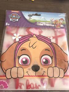 PAW PATROL WIPE CLEAN CHILDRENS BIBS SKYE PLASTIC WIPE CLEAN BIBS