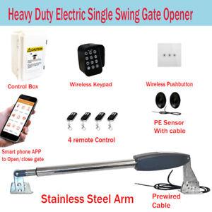 Electric Single Swing Farm Gate Opener Automatic Motor Keypad Phone App Remote