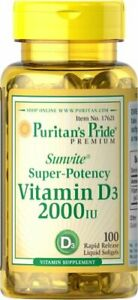 Puritan's Pride Sunvite Super High Potency Vitamin D3 2000IU, 100 Softgels