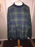 Vintage IZOD Golf Crew Neck Pullover Jacket Plaid MenL L Nylon Windbreaker