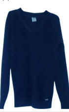 Timberland Womens V neck Navy Blue Wool Blend Tunic Sweater Size M/8 Thick Warm