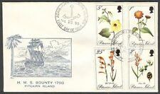 PITCAIRN ISLAND 1970 FLOWERS FDC SET 4 STAMPS BOUNTY CACHET (ID:175/PI66)
