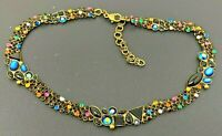 Vintage signed Sorrelli Multi color Rhinestone Necklace 15""