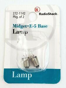 Pack Of 2 Radio Shack 272-1142 Midget E-5 Base Miniature Lamps 6V 100ma