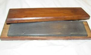 Vintage sharpening stone in wooden box / case old woodworking tool stone tool