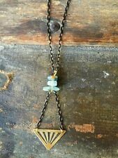 Anthropologie Blue Kyanite Chips Bead Brass Triangle Minimal Black Gold Necklace