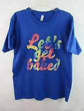 American Apparel Let's Get Baked Legalize Crewneck T-Shirt Blue Size Large
