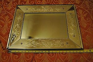 """Vintage Antique Heavy 1940's - 50'S  Glass Wall Mirror  22"""" x 17"""" x 1 1/2"""""""