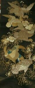 LARGE ANTIQUE CHINESE GOLD METAL & SILK THREAD EMBROIDERY - BIRDS