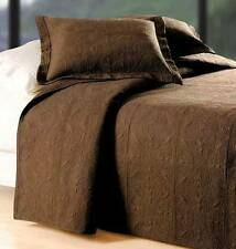 CHOCOLATE BROWN Twin Full Queen or King QUILT : 100% COTTON MATELASSE COVERLET