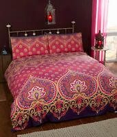 Rapport Asha Indian Asian Ethnic Duvet Cover Bedding Set Ruby Red