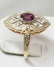 VINTAGE 1.30 ctw DIAMOND & PINK TOURMALINE 14K YELLOW GOLD ART DECO RING