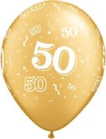 """50th Gold Latex Party Balloons 28cm (11"""") Birthday or Anniversary Decoration"""