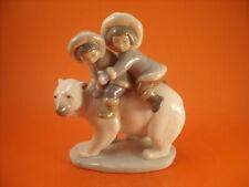 "STATUINA LLADRO ""Eskimo Kids on Polar Bear"""