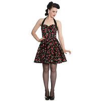 Hell Bunny Black Cherry Pop Rockabilly 1950s Vintage Retro Flared Mini Dress