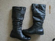 Ladies NEXT Black casual flat leather knee high boots U.K. 6 (EUR39)