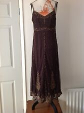 Laura Ashley Chocolate Brown Mesh Heavy Embellished Dress Size-10 Never Worn