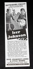 1938 OLD MAGAZINE PRINT AD, IVER JOHNSON, OUTDOORS CALLS, RIFLE & FAST BICYCLE!