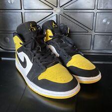 Air Jordan 1 Mid SE Yellow Toe 852542 071 Black White Used Men's Size 10 No Box