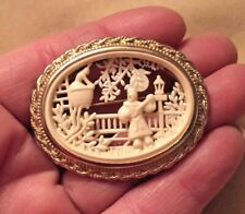 ROMANTIC 60s Signed CORO Asian Influenced ROMEO & JULIET CELLULOID CAMEO Pin