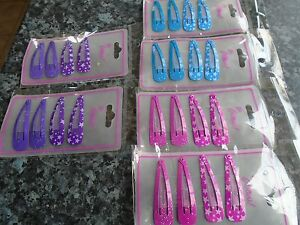 2 x pack 4 glitter & star hair bendies metal 4.8cm sleepies snap clips slides