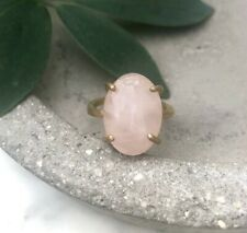 Size 6.5 Natural Rose Quartz Oval Gemstone Brass Claw Setting Cocktail Ring Gold