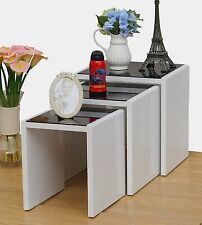 Designer High Gloss White Nest of Tables 3 Pack with Tempered Black Safety Glass